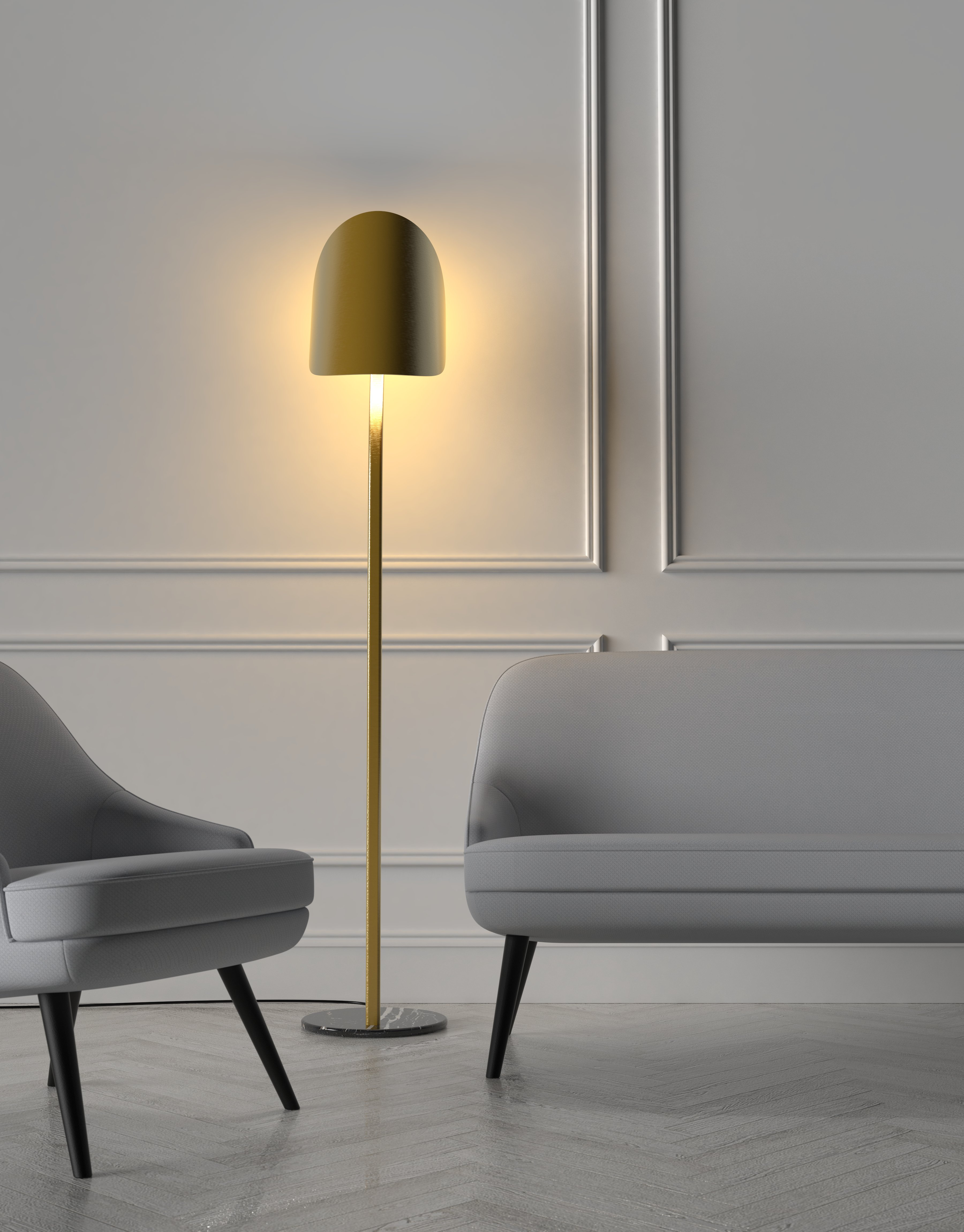 lampara pie laton deco dorada diseño