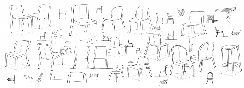 diseño bocetos boli sillas
