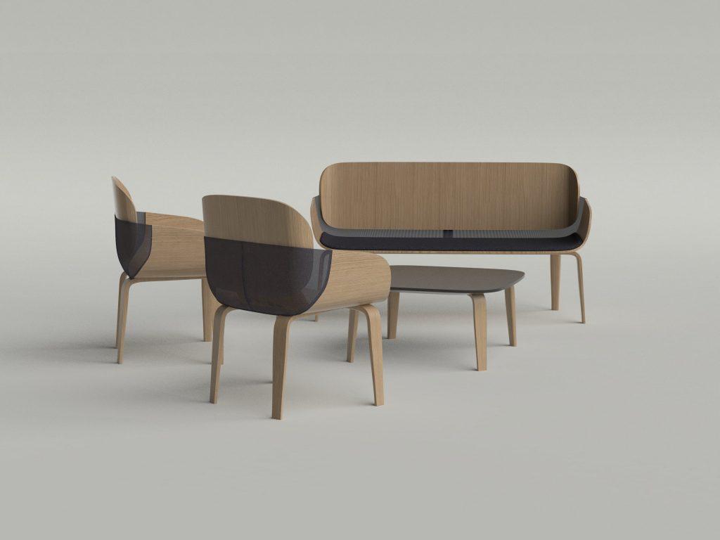 diseño mobiliario madera asiento