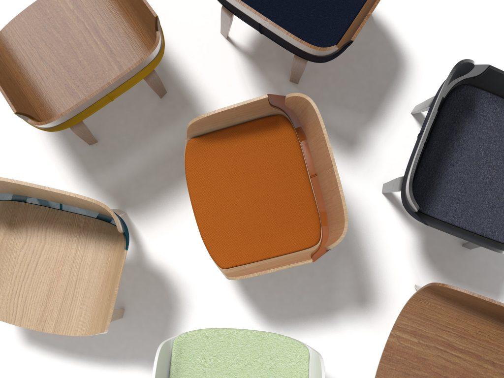 diseño asiento madera tapizado